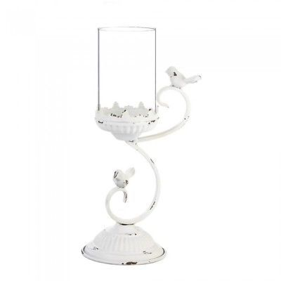 """Rustic Country 13.2"""" White Candelabra 2 Bird Candle Holder Centerpiece"""