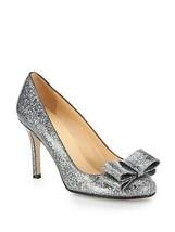 Kate Spade Women's Metallic Krysta Glitter Bow Pumps size 9M - $199.99