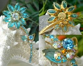 Vintage juliana flower brooch aqua rhinestones thumb200