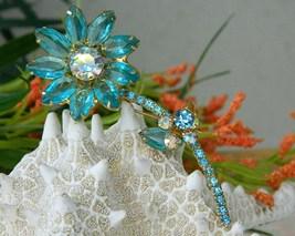 Vintage juliana brooch pin rhinestone long stem flower aqua thumb200