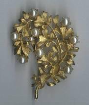 Vintage Goldtone Faux Pearl Pin Brooch Leaf Design Curved Crescent Shaped - $4.95