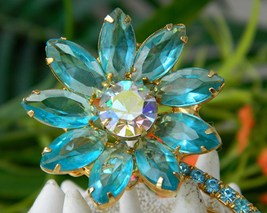 Vintage juliana rhinestone brooch pin long stem flower aqua thumb200