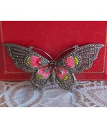 Garnet and Marcasite Sterling Silver Butterfly Brooch/Pin - $149.99