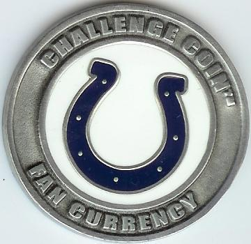 INDIANAPOLIS COLTS CHALLENGE COIN NFL FAN CURRENCY NEW