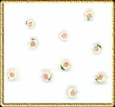 10 Teensy  3mm  Ceramic  WHITE  FLOWERS - $3.51
