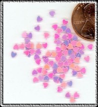 100 ICY Iridescent PINK SPANGLES HEARTS New Design Arts - $3.56