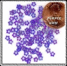 100 ICY Iridescent  PURPLE Hollow Outline STARS Designs - $3.56