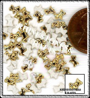 100  Iridescent AB  GOLD  3D  Puffy DOGS  Shapes