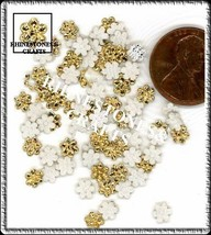 100  Iridescent AB  GOLD  3D  Puffy FLOWERS  Shapes - $2.99