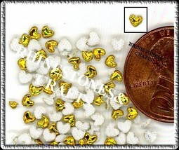 100  Iridescent AB  GOLD  3D  Puffy HEARTS  Shapes - $2.99