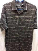 IZOD mens golf polo shirt, taupe stripes, size L . --#b332 - $9.50