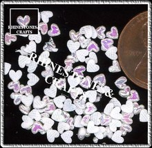 100  Iridescent AB  WHITE  3D  Puffy HEARTS  Shapes - $2.99