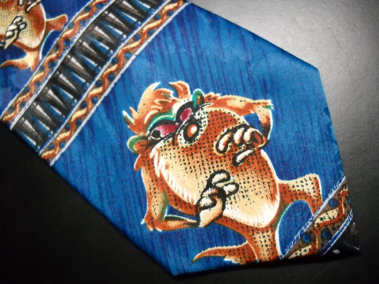 Looney Tunes by Balancine Neck Tie Blue Tasmanian Devil Taz 1996 Blues Browns