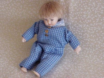 DOLLHOUSE MINIATURE Toddler 1-pc Outfit Heidi Ott Wearable Blue Check1:12