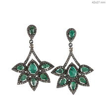 Emerald Gemstone Dangle Drop Earrings Pave Diamond 925 Sterling Silver J... - $364.65
