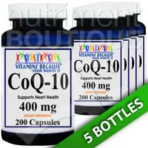 Coenzyme Q-10 400 mg CoQ10 CO Q-10, CoQ-10 5X200 Caps by Vitamins Because - $76.22