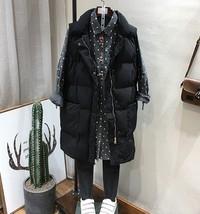 New black warm long padded winter vest with pockets cozy sleeveless wais... - $46.00