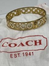 Coach Bracelet Bangle Enameled White & Crystals Signature  Gold  J4 - $58.79