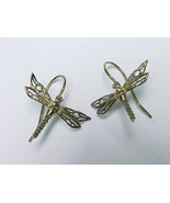 DRAGONFLY Dangle EARRINGS in Yellow Gold Vermeil over Sterling Silver - £28.87 GBP