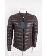 Zara Man Faux Leather Puffer Jacket Coat Medium Maroon Burgundy 0706/521... - $128.69