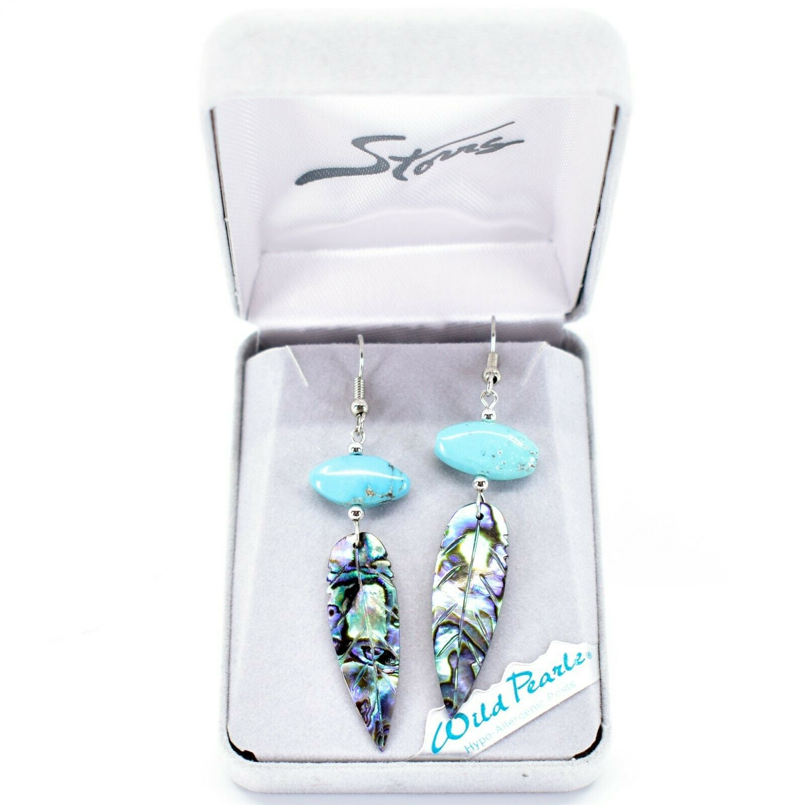 A.T. Storrs Wilde Pearle Abalone Shell & Turqouise Feather Hook Earrings