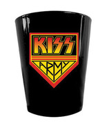 KISS ARMY LOGO BLACK SHOT GLASS 2oz NEW ROCK & ROLL - $2.95