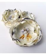 Ivory satin beaded flower trio.  - $49.95