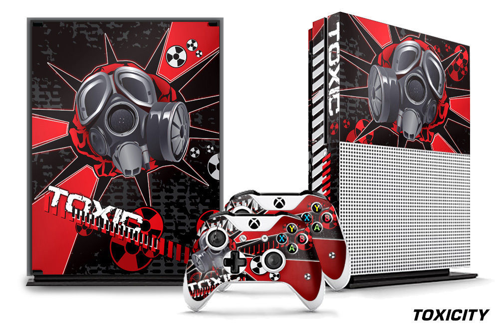Designer Skin for XBOX ONE S 1S Gaming Console+2 Controller Sticker Decal TOXIC