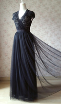 BLACK High Waisted Long Maxi Tulle Skirt Full Length Wedding Bridesmaid Skirts