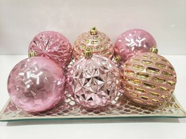 6 Stunning Shabby Chic Baby Girls Pink Gold Glitter Christmas Ornaments ... - $29.99