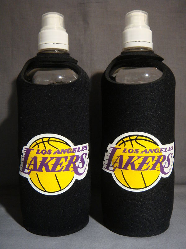 LOS ANGELES LAKERS LOGO BLACK NEOPRENE SPORTS BOTTLE x2
