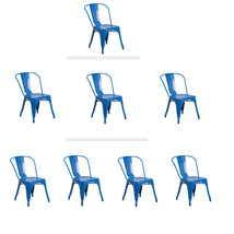 BLUE TOLIX STYLE METAL STACK INDUSTRIAL CHIC DINING CHAIR 1, 3 OR 4 QTY ... - $56.88+