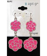 Apt. 9     2 inch Pink Rose Metal Dangle Earrings NWT - $9.99