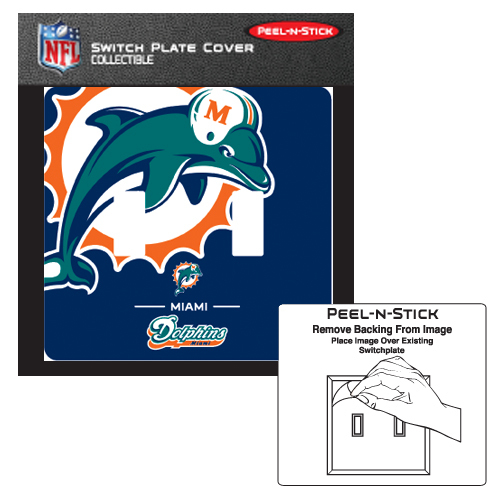 MIAMI DOLPHINS PEEL N STICK DOUBLE SWITCH PLATE COVER