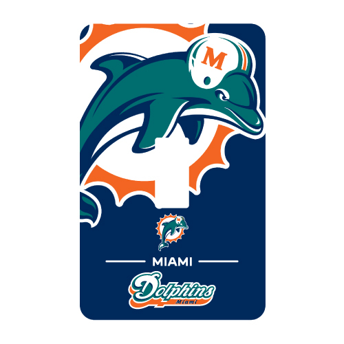 MIAMI DOLPHINS PEEL N STICK SINGLE SWITCH PLATE COVER