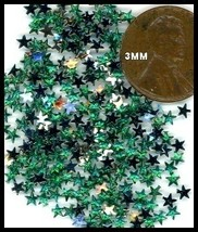 100 Rhinestones GREEN new lots Arts Crafts STARS - $4.75