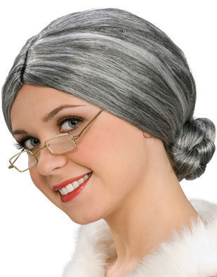 MRS SANTA CLAUS WIG OLD LADY GREY WIG ADULT SIZE NEW