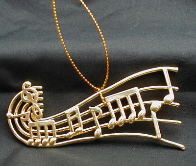 "MUSIC NOTES ORNAMENT MUSICAL INSTRUMENT 4"" GOLDEN"