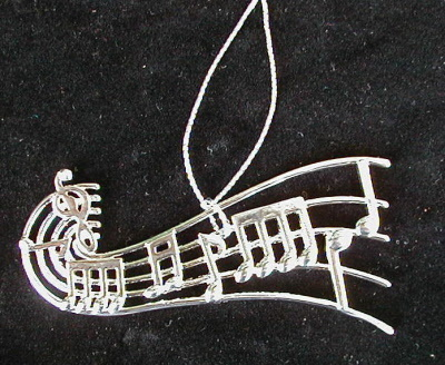 "MUSIC NOTES ORNAMENT MUSICAL INSTRUMENT 4"" SILVER"