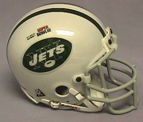 NEW YORK JETS MINI HELMET RIDDELL NFL CHROME SUPER BOWL