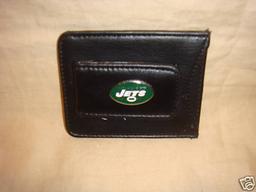 NEW YORK JETS MONEY CLIP AND CARD HOLDER LEATHER NEW