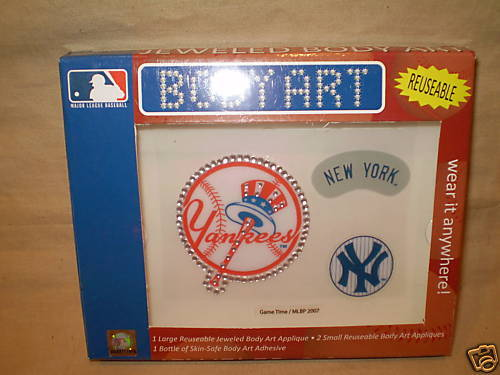 NEW YORK YANKEES TATTOOS JEWELED BODY ART REUSABLE MLB