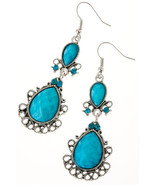 Beautiful Turquoise Filigree Jewel Dangle Earrings - $10.00