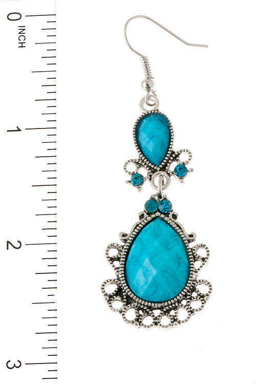 Beautiful Turquoise Filigree Jewel Dangle Earrings