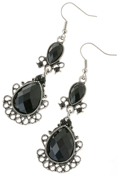 Beautiful Black Filigree Jewel Dangle Earrings
