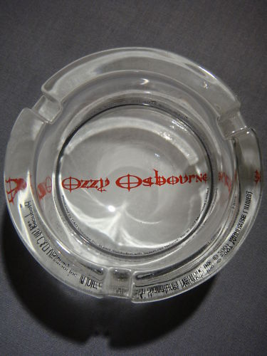 OZZY OSBOURNE LOGO GLASS ASHTRAY NEW