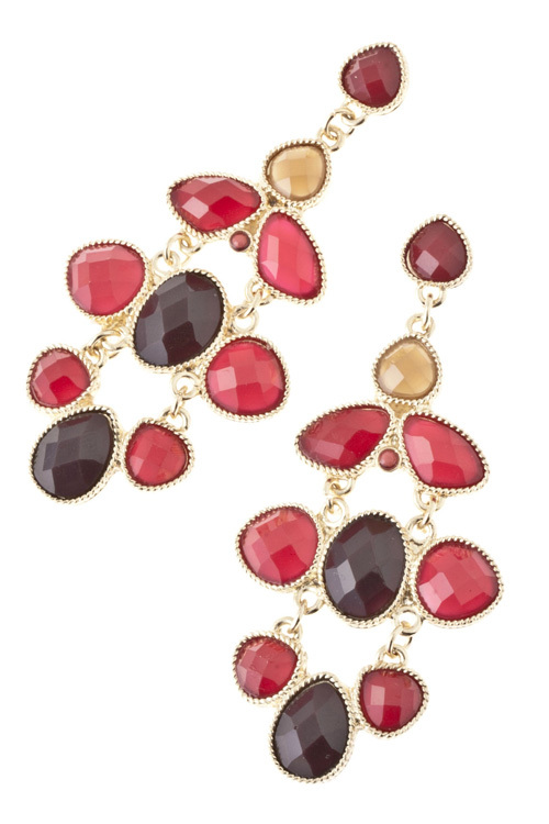 Stunning Burgundy / Brown Jeweled Link Chandelier Earrings