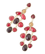 Stunning Burgundy / Brown Jeweled Link Chandelier Earrings - $20.00