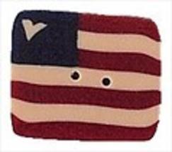 "XLarge Folk Art Flag 3303X handmade clay button 1.12"" JABC Just Another ... - $2.00"