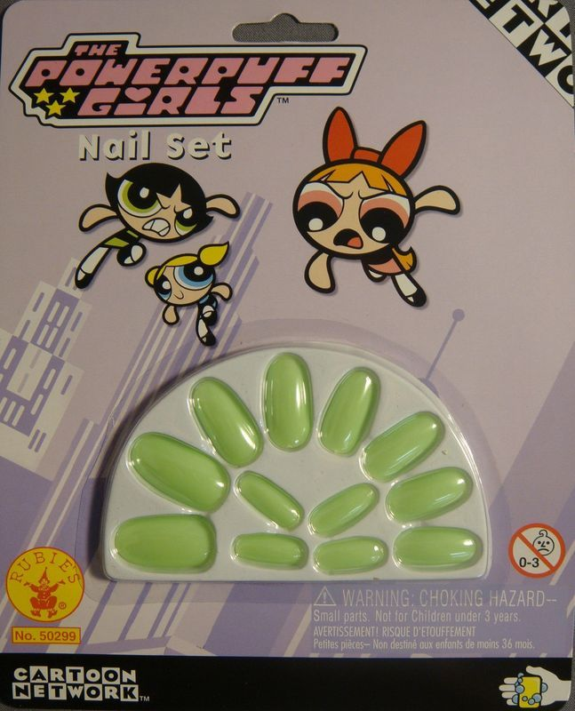 THE POWERPUFF GIRLS BUTTERCUP PEEL STICK GREEN NAIL SET